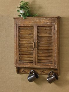 Cabin Decor - Distressed Wood Shutter Cabinet Are you looking for vintage or western cabin decorating ideas? Our best selling Distressed Wood Shutter Cabinet has been a favorite amongst our cabin owne Vintage Shutters, Rustic Shutters, Interior Shutters, Rustic Walls, Interior Barn Doors, Rustic Shelves, Bedroom Shutters, Outdoor Shutters, Diy Shutters