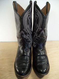 Vintage ARIAT Riding Black Leather Men's Cowboy Western Rancher Boots Size 8.5   $140