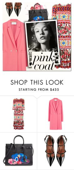 """""""Hey, Girl: Pretty Pink Coats III"""" by vampirella24 ❤ liked on Polyvore featuring Dolce&Gabbana, Harris Wharf London, Yves Saint Laurent and RED Valentino"""