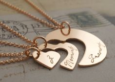Rose Gold Filled Three Generation Necklace Set by Eclectic Wendy Designs - Personalized Grandmother, Daughter, Granddaughter Set in Pink GF by EclecticWendyDesigns on Etsy