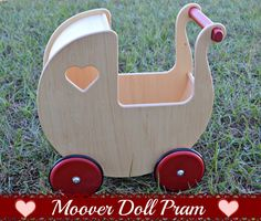 Homegrown Families: Baby ♥ with Wooden Stroller from Moover by HABA! Pram Toys, Dolls Prams, Handmade Wooden, Handmade Toys, Strollers For Dolls, Wood Toys, Wooden Dolls, Diy Toys, Baby Goats
