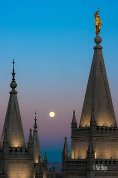 'The Moon Vision - Close' - photo by Niel Hayes (niel4) on deviantART;  The full moon shines behind the spires of the Salt Lake City, Utah, Temple of the Church of Jesus Christ of Latter-day Saints.