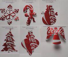 Set of Six Handmade Christmas Ornaments Recycled Aluminum Coca Cola Soda Can Art
