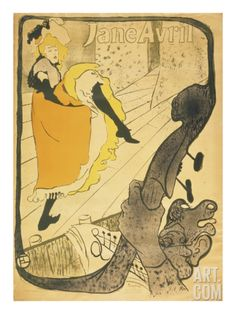 Lithograph Jane Avril, 1893 Giclee Print by Henri de Toulouse-Lautrec at Art.com