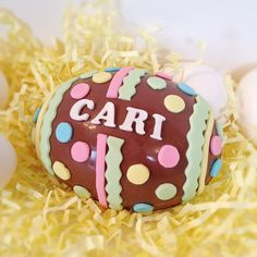 Personalized Chocolate Easter Egg. Fun and colorful, this beautifully decorated egg is a decadent and delicious treat. Personalized just for you and presented in a white gift box and tied with a pretty ribbon. by DiamondChocolates #Easteregg