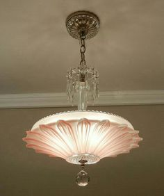 Pretty in Pink…Chandeliers by TJ on Etsy - All For Decoration Pink Chandelier, Antique Chandelier, Antique Lamps, Antique Lighting, Vintage Lamps, Chandelier Lighting, Vintage Art, Vintage Stuff, Glass Ceiling Lights