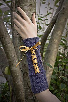 Free knitting pattern for Beribboned Wrists mitts and more wristwarmer knitting patterns