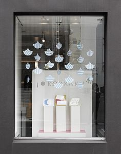 lovely shop window - with flat xmas ornament cutouts?