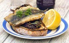 Cornish sardines: Sardines on tapenade bruschetta for when I am lucky enough to find fresh sardines!