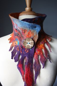 textile art couture fashion collar felt accessory fairy hippy tribal boho Vital Temptations on Etsy. Art Textile, Textile Jewelry, Nuno Felting, Needle Felting, Nuno Felt Scarf, Felted Scarf, Do It Yourself Jewelry, Felt Art, Fabric Art