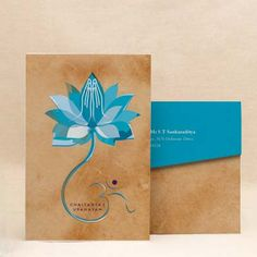 Lotus Blessing: Blue Thread Ceremony Invitation Cards Lotus Blessing is the perfect thread ceremony invitation for the beginning of your studenthood. Add a personal touch to your event with this design.  #Munj #Batu! #ThreadCeremony #invitations #Munj #Invitations #Janeva #Invites #Upnayanam #Cards