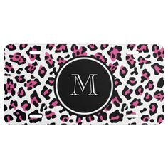 Hot Pink Black Leopard Animal Print with Monogram License Plate - More custom designs available