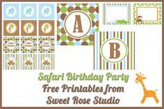 Safari Birthday Party Printables from Sweet Rose Studio