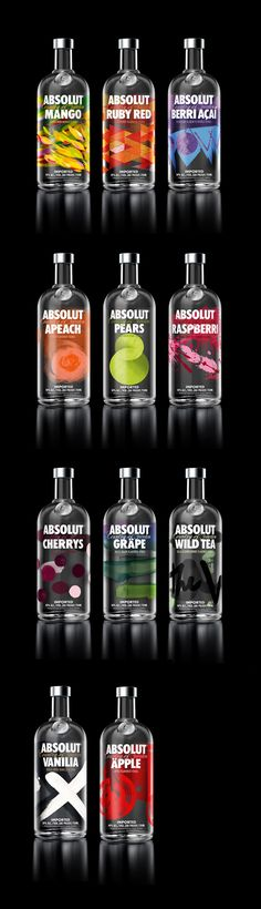 As garrafas novas. {Absolut} New Absolut Vodka designs - 2013 Give me Vodka or give me gun to show you death, eh. Beverage Packaging, Bottle Packaging, Brand Packaging, Packaging Design, Absolut Apeach, Absolut Vodka Flavors, Pear Vodka, Cocktails, Cocktail