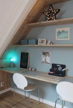 Home Office, Office Desk, Bedding Inspiration, Teenage Room, Attic Stairs, Home Reno, Kidsroom, My Dream Home, Home Projects