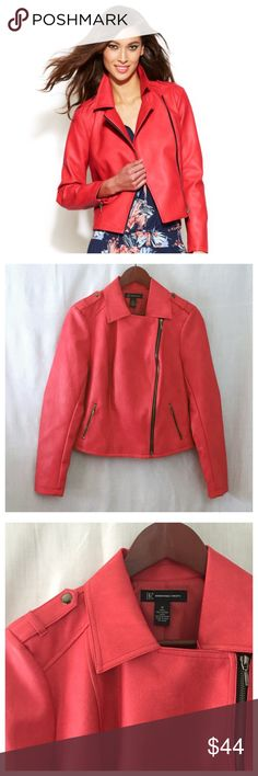 "INC Coral Pink Faux Leather Moto Jacket NWT Small INC International Concepts Coral Pink Faux Leather Moto Jacket NWT  • Sz Small  • Fully lined in polyester • Zippered pockets and sleeve cuffs • 22"" length • 19.5"" bust (measured flat) • 17.5"" sleeve inseam • 15.75"" shoulders  • New with tags • Candy Coral color, pink, orange • Motorcycle style The last two pics just show styling of similar jackets INC International Concepts Jackets & Coats"