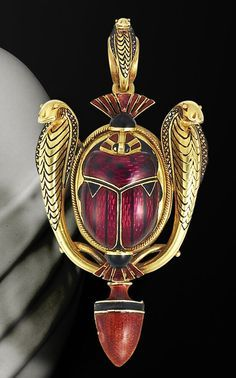 An archaeological revival gold and enamel brooch pendant, by Robert Phillips, circa 1865 Set to the centre with a raised scarab