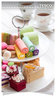 Enjoy an afternoon tea party fit for a Queen! ...♥♥... Lay on a spread at home with cucumber sandwiches, scones with jam and clotted cream plus a range of decadent cakes and pastries – try our money-saving tips and tricks to help stick to a budget. | Tesco Living