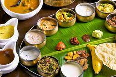The Onam feast in banana leaf!
