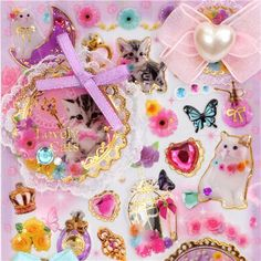 cute 3D stickers with ribbons and cats kawaii