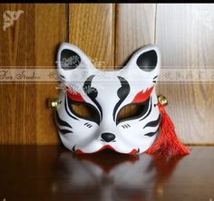Hand-Painted Half Face Japanese Fox Mask Kitsune Cosplay Masquerade Halloween #Unbranded