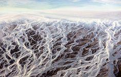 Paisagem de um rio na Islandia