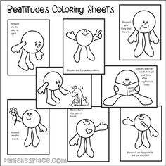 Eight Beatitude Coloring Sheets Beatitudes For Kids, Catholic Catechism, Catholic Kids, Kids Church, Church Ideas, Youth Lessons, Bible Lessons For Kids, Sunday School Lessons