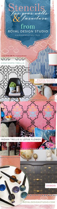 Paint your walls and furniture with pretty painted pattern! Wall stencils, painted furniture stencils, floor stencils, ceiling stencils for Chic and Trendy DIY Home Decor Ideas - Royal Design Studio