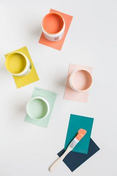 Lemon-lime, clementine, melon, honeydew, teal and ocean... Love this organic and fresh palette.