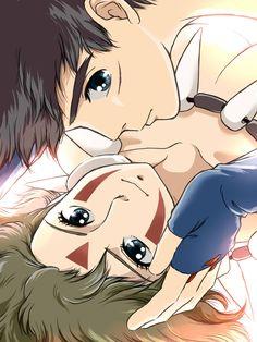 Ashitaka and San Hayao Miyazaki, Totoro, Studio Ghibli Movies, Illustrations, Cute Anime Couples, Anime Love, Love Art, Animation, Fan Art