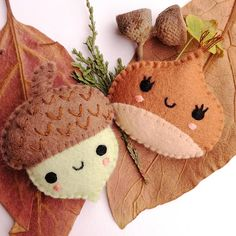 Felt PDF sewing pattern  Acorn and Chestnut. Cute felt