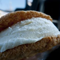 Key lime ice cream sandwich with coconut oatmeal cookies. Yum!
