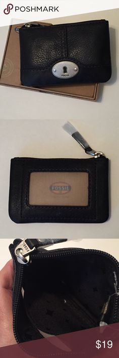 """🆕 Fossil black leather coin purse 🎁🎁 NIB NWT Fossil Marlow Zip Coin purse in black. Card window in back, leather with cloth lining. 5.25"""" x 3.5"""". Perfect for carrying ID and a couple of cards and cash. 🎁Would make a great gift. 🎁 Comes in box. I have 3 available, tag me if you want more than one and I'll make an additional listing so they can be bundled. Fossil Accessories Key & Card Holders"""