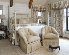 toile drapes - simple french country