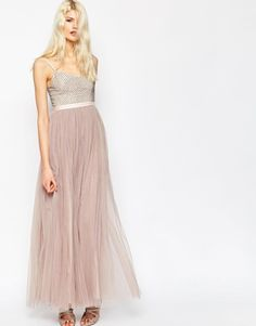 Needle & Thread | Needle & Thread Strappy Backless Tulle Embellished Maxi Dress at ASOS