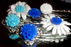 Brilliant Blues set of 6 bobby pins hair accessories lot flower cabochons silver filigree base aqua. via Etsy.