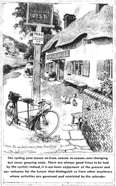 The picture of the tearoom of Britten in the early century by Frank Patterson: The Cycling Artist Tandem Bicycle, Bicycle Art, Cycling Quotes, Cycling Art, Touring Bicycles, Bike Illustration, Bike Poster, Black N White Images, Artist