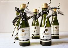 Mini-Champagne Bottle Engagement Party Favors {Free printable} » The Lovely Bits