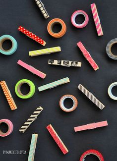How to decorate clothespins with washi tape