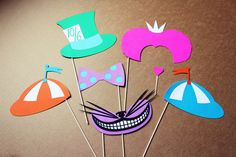 Reserved- Alice In Wonderland Party Colorful Photo Booth Props- Centerpieces