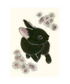 "Samantha Battersby: Black Bunny Rabbit art print - Little Black Bunny - 4"" X 6"" animal portrait"