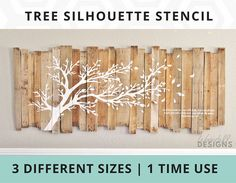 This stencil was used to make a huge 8 foot pallet sign for my home. After being featured on my blog, it went viral on social media and has been specifically asked for by many.  So without further ado.....Here Is The Tree Silhouette Stencil  This One Time Use Self-Adhesive Stencil gives you the flexibility of choosing any paint color you want. Now you can create your own hand-painted wall art. You can use this stencil on a DIY pallet sign like I did or put it directly on your wall or other…