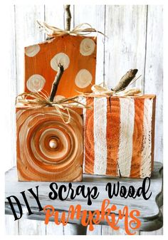 DIY Scrap Wood Pumpkins - Re-Fabbed : Fun and Easy DIY Scrap Wood Pumpkins! The little stems are simply sticks from the yard, and the wood is scraps found on the ground or leftover from previous projects! Check it out! Definitely a must pin for Fall! Fall Wood Crafts, Pumpkin Crafts, Thanksgiving Crafts, Holiday Crafts, Diy Crafts, Easy Fall Crafts, Diy Holiday Blocks, Primitive Fall Crafts, Paper Crafts