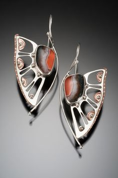 Large Agate Wing Earrings, crafted with silver and copper