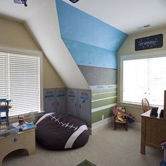 Football boys room < love the idea of the field, stands, sky mural