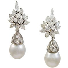 Diamond Pearl Drop Earrings Luxury Jewellery pieces ❤ liked on Polyvore