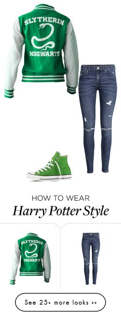 """""""Slytherin"""" by iamsherrios on Polyvore featuring H&M and Converse"""