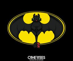 """""""How To Train Your Bat"""" by dannmatthews T-shirts, Tank Tops, V-necks, Sweatshirts and Hoodies are on sale until March 16th at www.OtherTees.com #batman #toothlees #httyd #howtotrainyourdragon #bat #brucewayne #dc #dreamworks"""