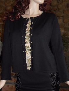 $11.99 & Free Shipping! J.Jill Decorative Black Sweater XS Button Front Ruffled Edges #JJill #Cardigan
