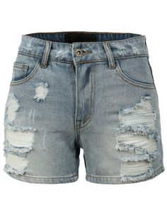 LE3NO Womens Casual High Waisted Distressed Destroyed Cut Off Denim Shorts (CLEARANCE)